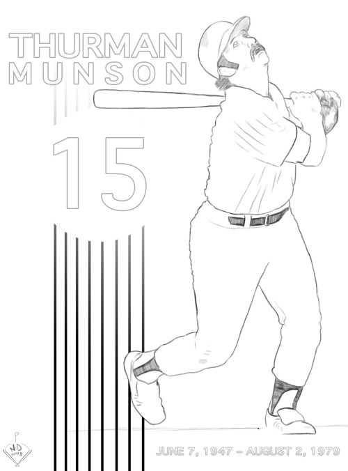 Thurman Munson (June 7, 1947 – August 2, 1979) ©nathan dallesasse (A quick sketch I did last night)