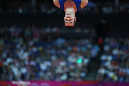 Danell Leyva of the United States, shown here on the rings, won the bronze.  He most certainly did.