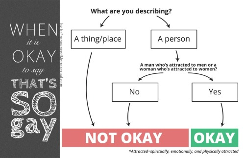 "knowhomo:  LGBTQ* Flow Charts ""Okay to Say Gay"" From It's Pronounced Metrosexual Personal Note: You should still ask someone before you refer to them as gay/label them as gay. Remember, words have power outside of definition. — Rebecca, Moderator of KNOWhomo  Do your students use the phrase ""That's So Gay""? Here's an infographic flowchart to help students, or anyone for that matter, decide when it's okay call something ""gay"". I was in a class during my student teaching, when two female students referred to a movie they had seen as ""gay"", and without missing a beat, I said to them, ""Oh, I didn't know movies could be attracted to other movies of the same genre."" They stared at me a bit incredulously, and I continued with the lesson. I felt it was a great teachable moment, made even better that I didn't call them out specifically or yell or lecture, but merely pointed out how silly it is to call a non-human thing ""gay"". Later, as the students were leaving, I had a male student come up to me and comment on how smart I was."