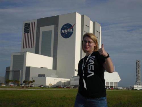 Me, photobombing the Vehicle Assembly Building, Aug. 2, 2012.