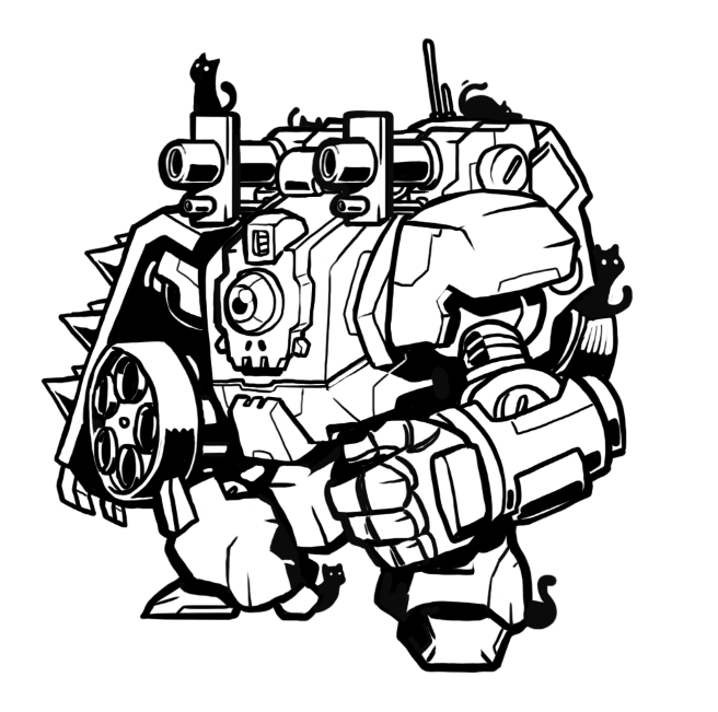 bryankarmel:  Skull mech who loves cats.. Because yes.