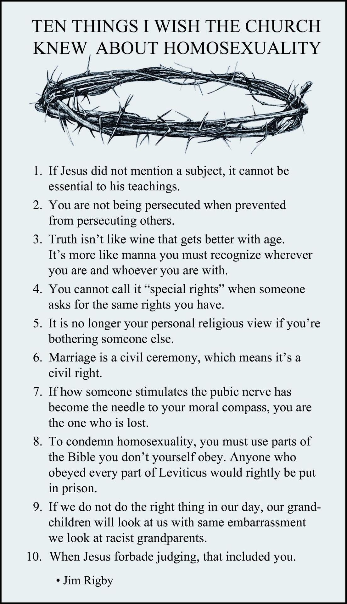 10 Things I wish the Church knew about Homosexuality
