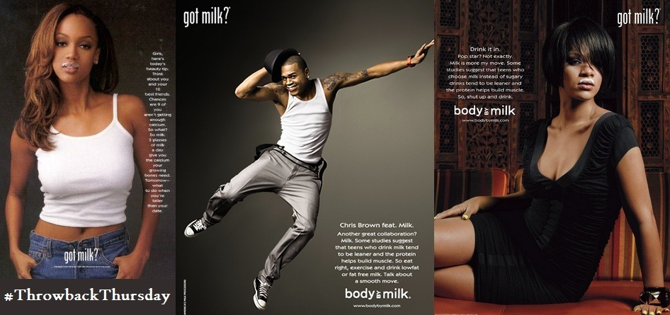 "Remember the old ""Got Milk?"" advertisementsTyra Banks, Chris Brown, and Rihanna #TBT#ThrowbackThursday"