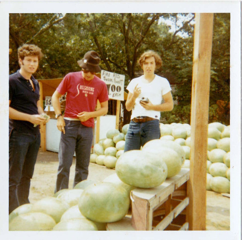Tomorrow is National Watermelon Day. My dad recently fished up this picture of him and his buddies on a road trip the Summer after they graduated college. The Hamptons? Somewhere in New England? Anyway, some takeaways: 1) This was taken with an actual Instagram. 2) It's from over 40 years ago, but the hair, the clothes, the drunken watermelon trick: I'll wager this image has been replicated on many a contemporary Billyburgian's Instagram stream. They're all from Brooklyn originally, so there's that.