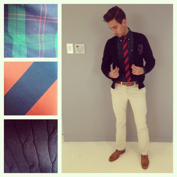 whatmyboyfriendwore:  Blue, Green & Red #mensfashion #menswear #outfitoftheday #wmbw (Taken with Instagram)