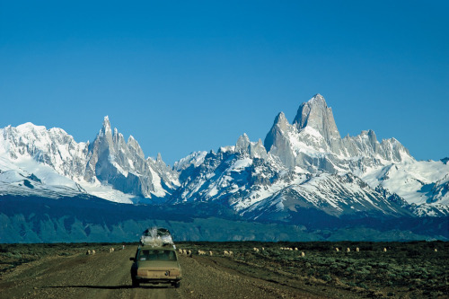 "Tough to not wish that I was there, whenever I see this iconic Patagonia image. patagonia:  ""Heading toward Fitzroy"", taken in 1985. Photo by BARBARA ROWELL"
