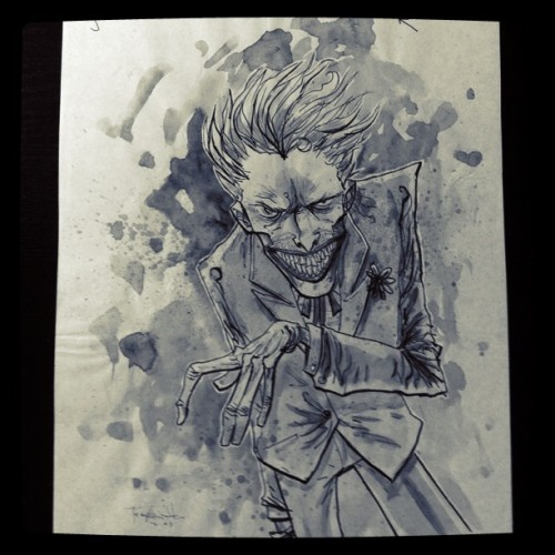 templesmith:  Smile. #drawing #art #painting #batman #joker #comics (Taken with Instagram)