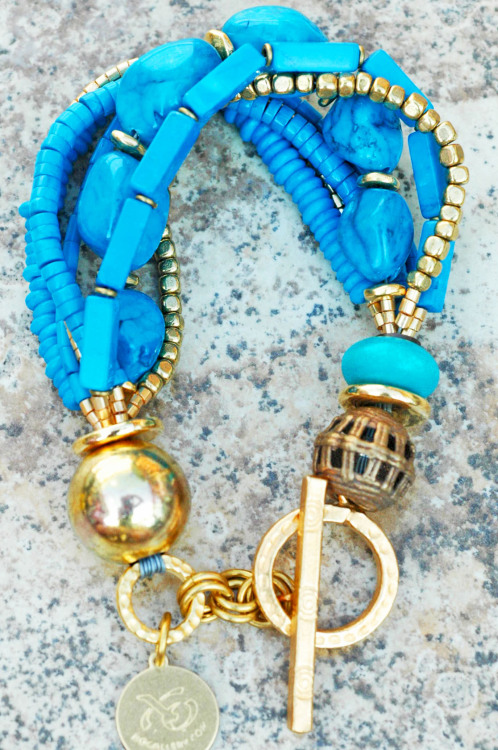 Turquoise and Gold Multi-Strand Bracelet
