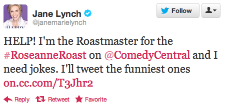 ccroasts:  Got some crazy good Roseanne zingers just burning a hole in your joke pocket? Tweet them to Roast Master @JaneMarieLynch and you just might see them on the #RoseanneRoast. The Comedy Central Roast of Roseanne tapes this Saturday and premieres Sunday, August 12 at 10/9c.