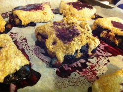Just made some AMAZING whole wheat Blueberry Biscuits as a mid-morning treat! They are HUGE and only 90 calories apiece. Plus they are FILLED with delicious juicy blueberries (perfect for summer!), and are made of whole wheat flour with no added sugar. Pretty healthy! (also, just plain pretty. CHECK OUT THOSE PRETTY JUICES!) Recipe HERE!