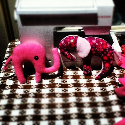 two of stuffed elephant designs…which one do u like better?  (Taken with Instagram at Eve-N-Odd Gallery)
