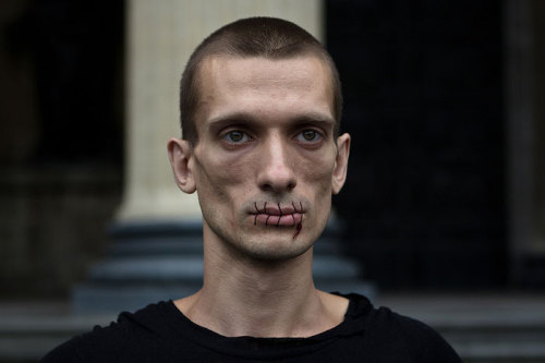 saibabayaga  Russian artist Petr Pavlensky, who sewed his mouth shut in protest against the Pussy Riot arrests.