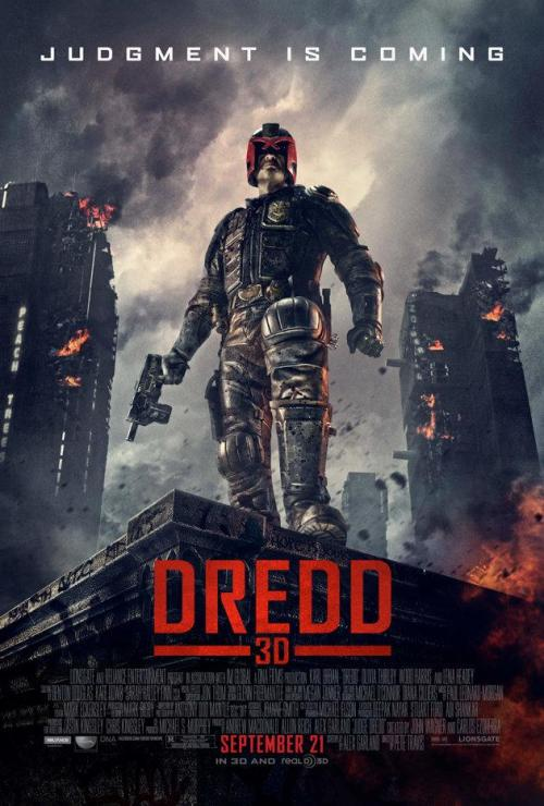 posterpark:  DREDD Director: Pete Travis Writers: Alex Garland Stars: Karl Urban, Olivia Thirlby and Lena Headey Synopsis: In a violent, futuristic city where the police have the authority to act as judge, jury and executioner, a cop teams with a trainee to take down a gang that deals the reality-altering drug, SLO-MO.  We are now locked in, ready for launch. Are you going on the day it opens? Anyone dressing up? Planning events? Then let us know.