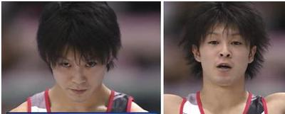 oneiannie:  His hair before and after a routine. TeeHee
