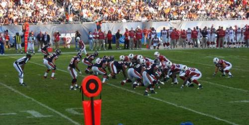 The Chicago Bears were taking on the Arizona Cardinals at Soldier Field in Brule Laker's great photo from his amazing seat around the 10 yard line. (via Soldier Field section 143 row 5 seat 12 - Chicago Bears vs Arizona Cardinals shared by brulelaker)