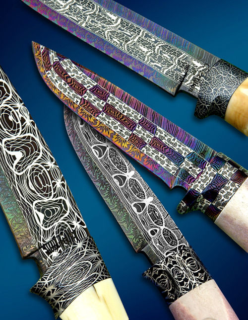 velociraptorwaffles:  Pattern welded Damascus Steel knives. My brain is full of what. (What kind of trade-off do these things have in terms of appearance/functionality/practicality?)   Adding this to the unofficial list of Things Rook Collected in the Desert.