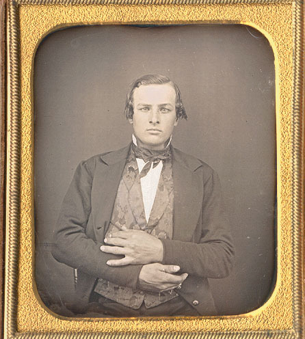 tuesday-johnson:  ca. 1850, [daguerreotype portrait of an unusually posed gentleman] via Christopher Wahren Fine Photographs, Skylight Gallery  Giving secret messages to his fellow Illuminati possibly.