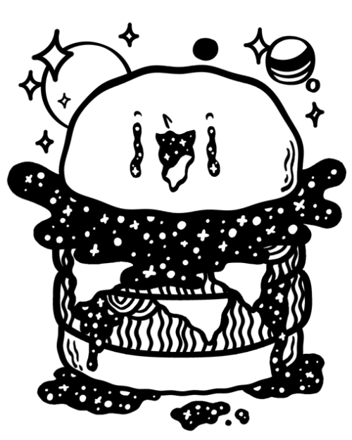 Galaxy Burger  If it all works out I'll be offering this design on some screen printed t-shirts soon.  Would anyone wear this on a tee?