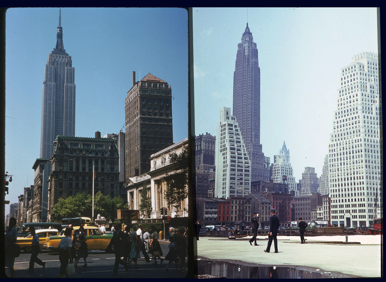 The Empire State Building and 70 Pine Street. First picture is from 1960 - not sure on the 2nd.