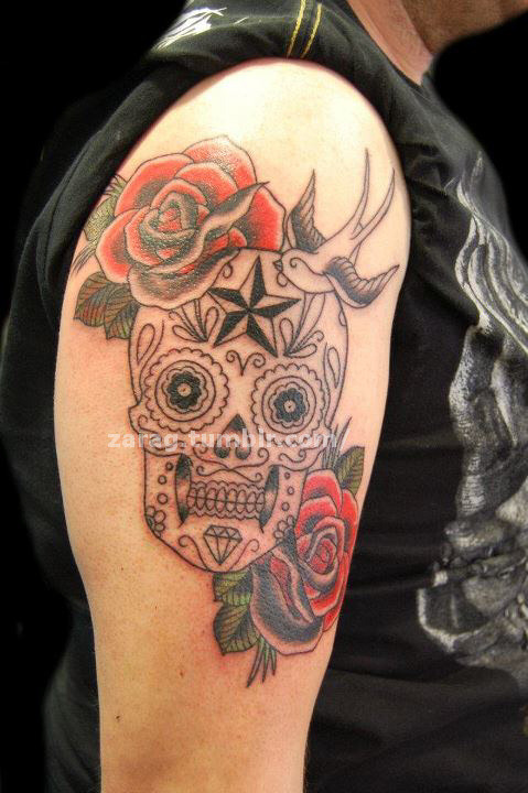 Sugar skull with roses and a swallow, in progress! Can't wait to finish this bad boy :DDone by myself @ Heaven 'n' Hell Tattoos in Falkirk. http://www.facebook.com/zara.g.tattooist