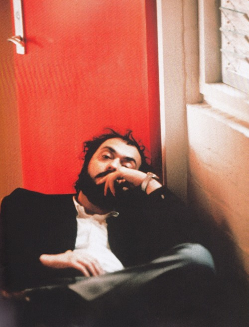 Stanley Kubrick on the set of A Clockwork Orange (1971). (Via)