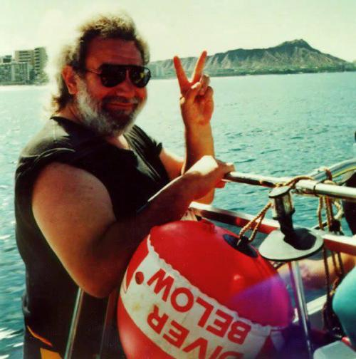 I forgot to post yesterday for Jerry's birthday. Here he is on a boat off the coast of the south shore of Oahu, with Diamond Head in view. Aloha Jerry! We all miss you!