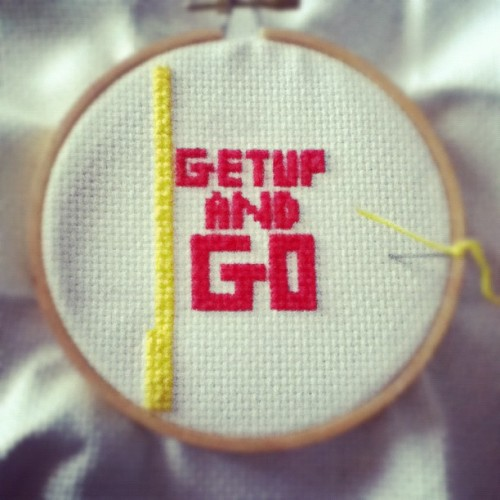 Get up and go! Cross-stitch wip. #crafts (Taken with Instagram)