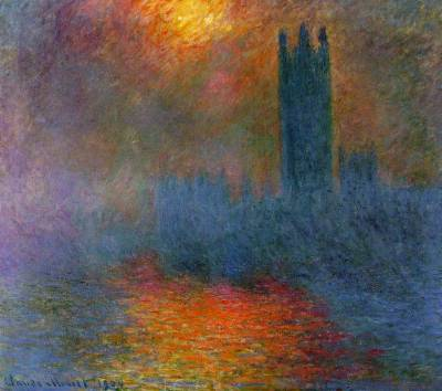 mjmoss:  Houses of Parliament (Sun Breaking Through the Fog) - Monet The swirling brush strokes creating the fog banks were amazing to see up close
