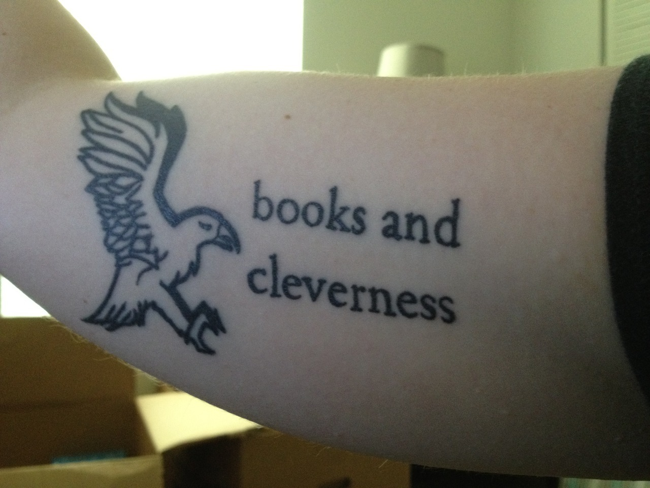 fuckyeahtattoos:  Hermione quote and Ravenclaw eagle. Done by Matt at Skinquake in Greenwood, Indiana.