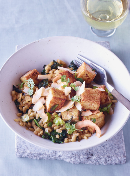 © John Kernick Five-Spice Tofu with Barley and Kale Recipe Contributed by Sara Forte Click here for full recipe