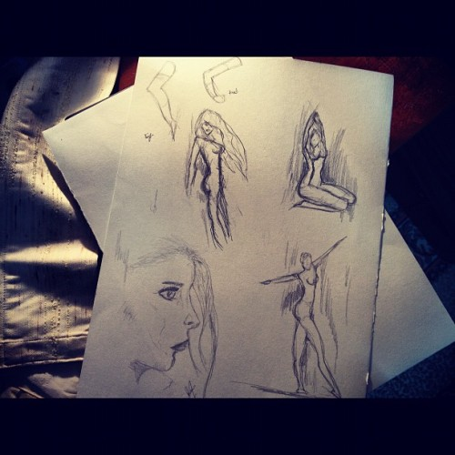 First try of drawing female figure #sketching #art #fun #sketch #figure     (Taken with Instagram)