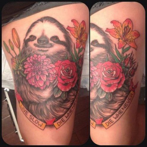 Live Slow, Die Whenever Sloth Tattoo Sloth life.