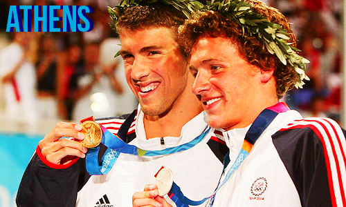 Michael Phelps and Ryan Lochte after the Men's 200m IM.