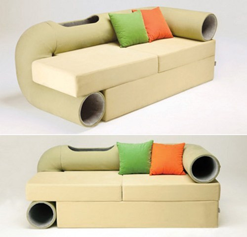 thedailywhat:  So This Exists of the Day: Behold the Cat Tunnel Couch from Korean designer Seungji Mun — as if our cats weren't already all up in our sh*t during movie night. [geekologie]  @geeel