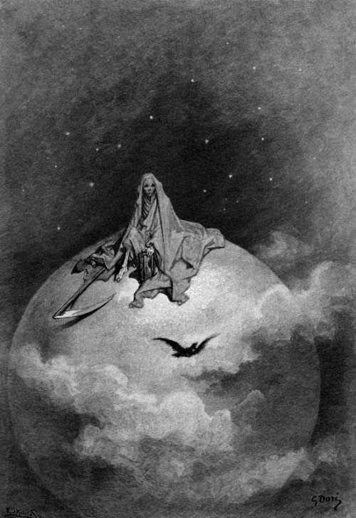 "Gustave Doré's illustration of Edgar Allen Poe's ""The Raven""."