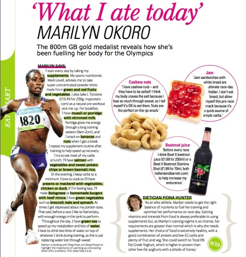 fitnesstreats:  Food diary of an elite athleteSource: British magazine Health&Fitness