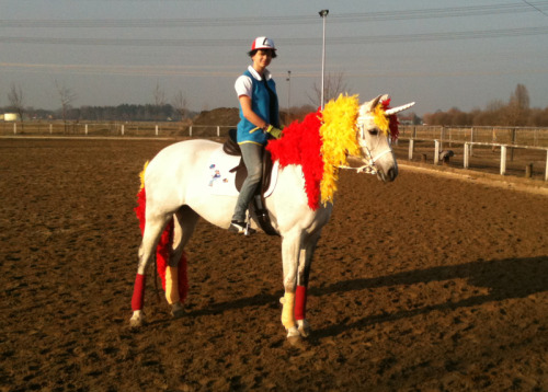 otlgaming:  NOW LOOK BACK AT ME, I'M ON A RAPIDASH! This amazing cosplay comes from Blashina who gives us the Pokemon trainer Ash sitting atop a real life Rapidash!  If you're looking for more amazing cosplay check out Link and Epona or this Child Link.  (via deviantART)