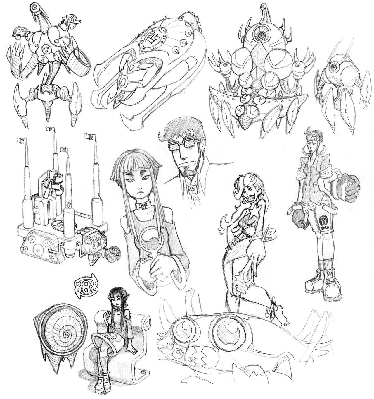 "This is an older composite set of sketches that I meant to post quite a while ago but overlooked. These are all characters I designed for a video game concept with a friend of mine a couple of years back. I still love these designs, and frequently considered revisiting them!All of the robot designs are based on foraminifera, or ""forams"" which are the microscopic shells of organisms that geologists use to date sedimentary rocks. The little robot in the upper right corner is named GRUBER, which is an abbreviation of Globigerinoides ruber."