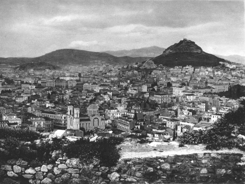 Bird's eye view (from the Acropolis) of the city of Athens, Greece, 1920s