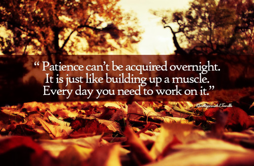 islamicthinking:  Patience can't be acquired overnight. It is just like building up a muscle. Every day you need to work on it.
