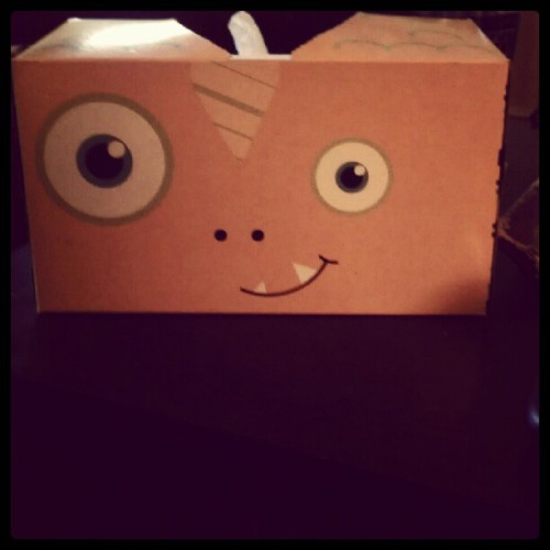 Day 2 one. One big eye and one little eye. Fish puffs tissue box #target #fatmumslim #photoadayaug  (Taken with Instagram)