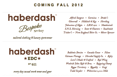 "This is some exciting news from Haberdash in Chicago. Taking a look at the brand list for their rebranded ""Bespoke"" store, I'm pretty excited to have a place to try on Alfred Sargent and Carmina shoes and buy Drake's London neckwear locally."