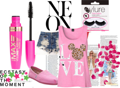 Pink by pinkpartiez featuring toms shoesLeopard top, $31 / TOMS  shoes, $64 / Rimmel mascara / Eylure makeup, $11