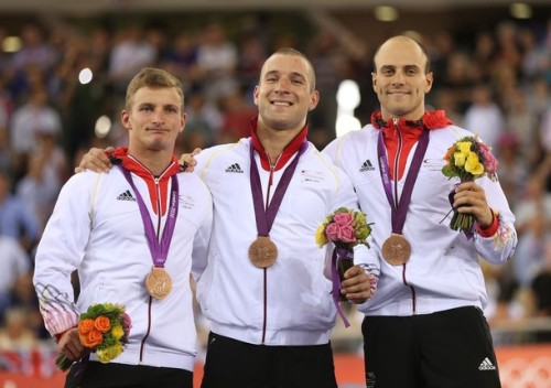 LONDON, ENGLAND - AUGUST 02: (L-R) Bronze medalists Robert Forstemann, Rene Enders and Maximilian Levy of Germany celebrate with their medals during the medal ceremony after setting a new world record in the Men's Team Sprint Track Cycling final on Day 6 of the London 2012 Olympic Games at Velodrome on August 2, 2012 in London, England. (via Photo from Getty Images) Yahoo caption correction! L-R: Rene Enders, Robert Forstemann and Maximilian Levy.