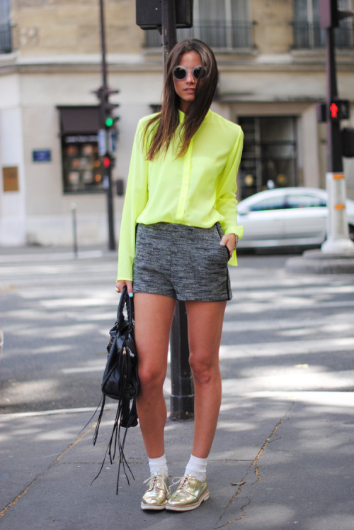 zina |  h&m shorts | zara golden shoes | uterque neon shirt | emporio armani sunglasses | balenciaga bag