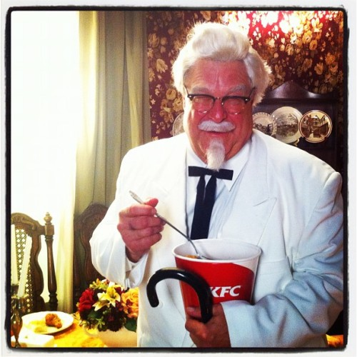 funnyordie:  FOD Behind the Scenes John Goodman as Colonel Sanders on the set of KFC Loves Gays.