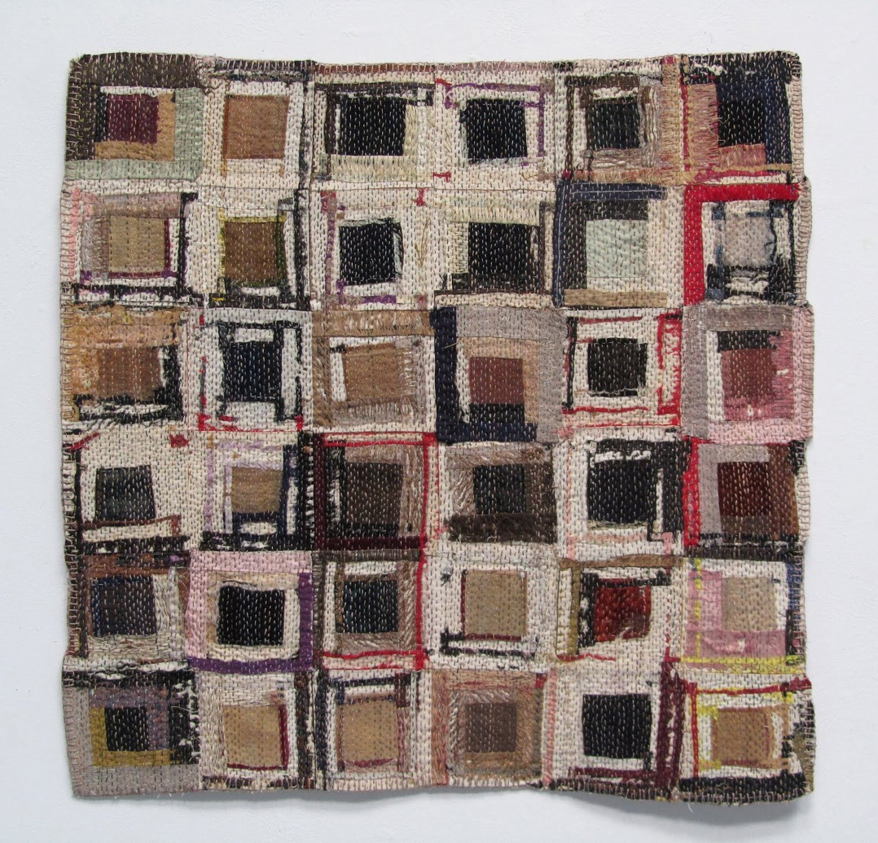 createcreatively:  Held Together by a Thread by Susan Lenz art quilt. Antique quilt fragments, recycled felt batting, vintage tablecloth backing, hand stitching.