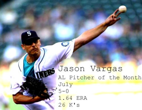 Congratulations to Jason Vargas for getting AL Pitcher of the Month for July!