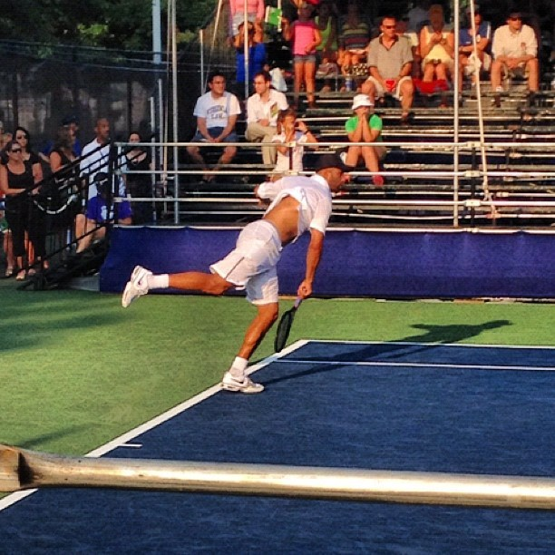 James Blake, serving during a doubles match at Citi Open in DC (Taken with Instagram)