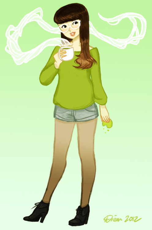 Matcha Green Tea by ~liminowl CHECK OUT ALL MY TEA ILLUSTRATIONS ON DEVIANTART OR ON TUMBLR. Outfit directly inspired by the stuff you'd see in the 'Asian fashion' tag on Tumblr. Those girls all have really long perfect skinny legs…